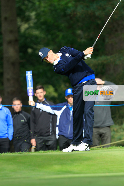 Marcus Kinhult (SWE) on the 3rd tee of the Mixed Fourballs, puts to go two up during the 2014 JUNIOR RYDER CUP at the Blairgowrie Golf Club, Perthshire, Scotland. <br /> Picture:  Thos Caffrey / www.golffile.ie
