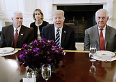 United States President Donald Trump flanked by  Secretary of State Rex Tillerson (R) and  Vice President Mike Pence (L) speaks as President Abdel Fattah Al Sisi of Egypt  sits on the other side of the table during a lworking unch in the State Dining Room  of White House in Washington, DC, April 3, 2017.<br /> Credit: Olivier Douliery / Pool via CNP