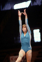 Gabrielle Fahnrich of East Germany performs on balance beam at 1985 European Championships in women's artistic gymnastics at Helsinki, Finland in late April, 1985.  Photo by Tom Theobald.