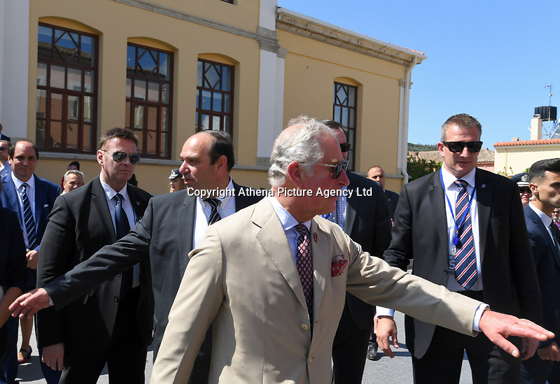 Pictured: Prince Charles at the village of Arhanes on the island of Crete, Greece. Friday 11 May 2018 <br /> Re: HRH Prnce Charles and his wife the Duchess of Cornwall visit thevillage of Arhanes near Heraklion, Greece.