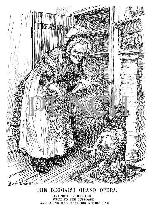 The Beggar's Grand Opera. Old Mother Hubbard went to the cupboard and found her poor dog a trombone. (the Unemployment dog receives an Opera Grant trombone from the Treasury cupboard)