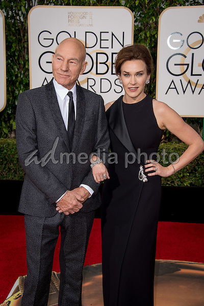 "Patrick Stewart, Golden Globe nominee for BEST PERFORMANCE BY AN ACTOR IN A TELEVISION SERIES – COMEDY OR MUSICAL for his role in ""Blunt Talk,"" and Sunny Ozell arrive at the 73rd Annual Golden Globe Awards at the Beverly Hilton in Beverly Hills, CA on Sunday, January 10, 2016. Photo Credit: HFPA/AdMedia"