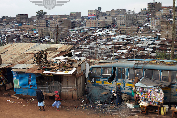 The Mathare slum in Nairobi, Kenya. Mathare is home to half a million people and is a place of extreme poverty.