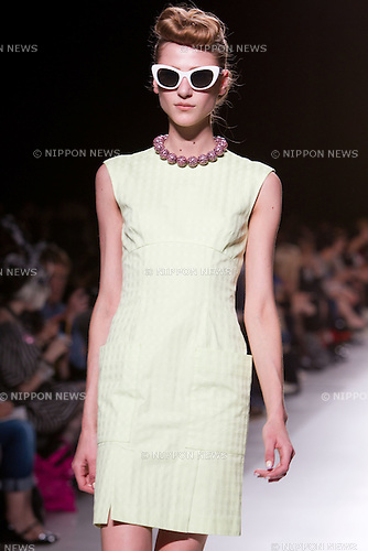 October 17, 2011: Tokyo, Japan - A model walks down the catwalk wearing G.V.G.V. during Mercedes-Benz Fashion Week Tokyo 2012 Spring/Summer. The Mercedes-Benz Fashion Week Tokyo runs from October 16-22. (Photo by Christopher Jue/AFLO)
