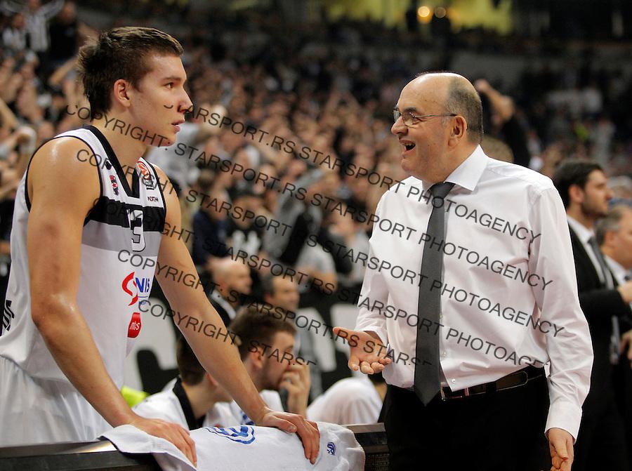Bogdan Bogdanovic Partizan`s head coach Dusko Vujosevic Euroleague, Evroliga, Partizan - Lokomotiv Kuban Januar 31, 2014. in Belgrade, Serbia (credit image & photo: Pedja Milosavljevic / STARSPORT / +318 64 1260 959 / thepedja@gmail.com)