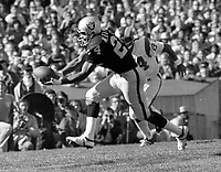 Oakland Raiders Willie Brown interceps pass against the LA Rams..(1972 photo/Ron Riesterer)