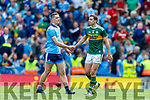 David Moran, Kerry and Brian Fenton, Dublin  after the GAA Football All-Ireland Senior Championship Final match between Kerry and Dublin at Croke Park in Dublin on Sunday.