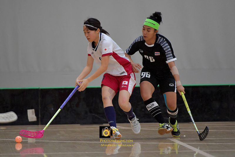 Japan's Eriko Chiba in action during the World Floorball Championships 2017 Qualification for Asia Oceania Region - Japan v Thailand at ASB Sports Centre , Wellington, New Zealand on Saturday 4 February 2017.<br /> Photo by Masanori Udagawa<br /> www.photowellington.photoshelter.com.