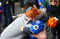 29th February 2020; Cardiff City Stadium, Cardiff, Glamorgan, Wales; English Championship Football, Cardiff City versus Brentford; Sean Morrison of Cardiff City hugs a young Cardiff City fan outside the Cardiff City Stadium as players arrive