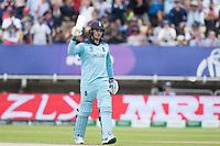Jason Roy (England) acknowledges his half century during Australia vs England, ICC World Cup Semi-Final Cricket at Edgbaston Stadium on 11th July 2019