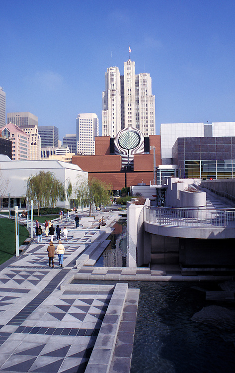 California, San Francisco: Museum of Modern Art and Yerba Buena Gardens.Photo #: 8-casanf318.Photo © Lee Foster 2008