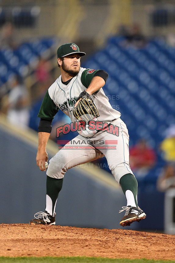 Fort Wayne TinCaps pitcher Justin Livengood (21) delivers a pitch during a game against the Lake County Captains on August 21, 2014 at Classic Park in Eastlake, Ohio.  Lake County defeated Fort Wayne 7-8.  (Mike Janes/Four Seam Images)