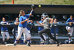 Western Nevada College Wildcats' Druelle Kierstead makes the out at first during a preseason softball game against Shasta College in Reno, Nev., on Saturday, Sept. 20, 2014.<br /> Photo by Cathleen Allison