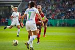 01.05.2019, RheinEnergie Stadion , Köln, GER, 1.FBL, Borussia Dortmund vs FC Schalke 04, DFB REGULATIONS PROHIBIT ANY USE OF PHOTOGRAPHS AS IMAGE SEQUENCES AND/OR QUASI-VIDEO<br /> <br /> im Bild | picture shows:<br /> Clara Schoene (SC Freiburg Frauen #27) mit Sara Bjoerk Gunnarsdottir (VfL Wolfsburg #7), <br /> <br /> Foto © nordphoto / Rauch