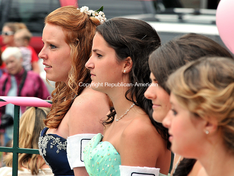 WINSTED CT, 12 JUNE 2011-061211JS07--The 2011 Laurel Queen candidates, from left, Stephanie Kimball, Mallory Rotondo Katelun Bailey and Samantha Kurlick listen to speakers during ceremonies Sunday at East End Park in Winsted. <br /> Jim Shannon/Republican-American