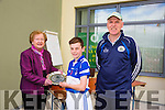 Eileen Cotter President of Parnells Hurling club presenting the Ardfert Team captain Gavin Ragatt who won the Tralee Parnells Invitational Tournament Plate 2015. here with Ger Reidy at the Parnells hurling blitz in John Mitchells GAA on Saturday