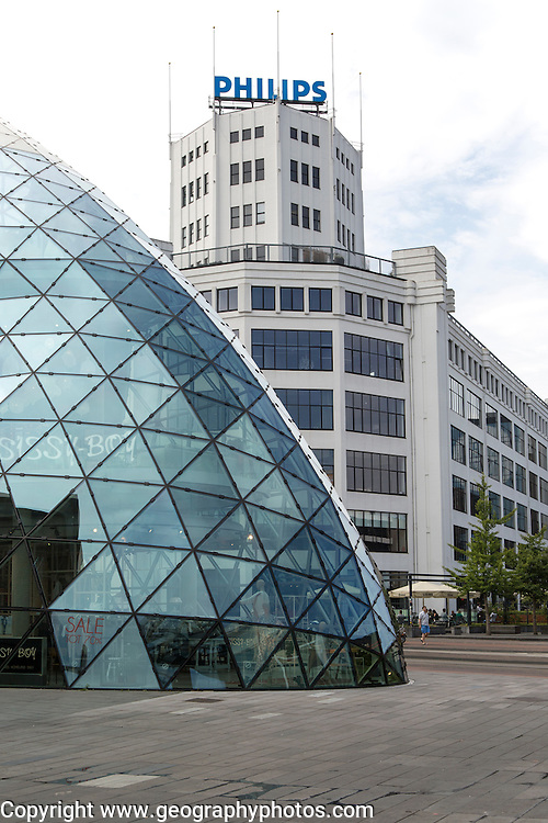 Modern glass dome and Philips building Eindhoven city centre, North Brabant province, Netherlands
