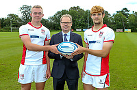 Monday 12th August 2019 | Ulster Schools U18<br /> <br /> Royal School Armagh and Ulster Schools U18 players Ryan Finlay and Josh King are pictured with Richard Caldwell representing the sponsors Danske Bank during a photo call at the Ulster Schools training base at Newforge Country Club, Belfast, Northern Ireland. Photo by John Dickson / DICKSONDIGITAL