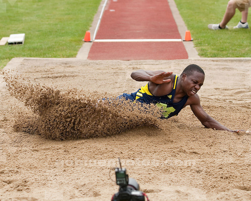 The University of Michigan men's track and field team competes in the Len Paddock Invitational (non-scoring) at Ferry Field  in Ann Arbor, Mich., on Saturday, May 4, 2012.