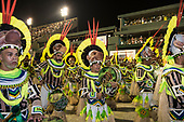 Imperatriz Leopolinense Samba School, Carnival, Rio de Janeiro, Brazil, 26th February 2017. Bateria percussion section during the parade at the sambadrome.