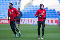 Ashley Williams and Joe Allen during a Wales Training Session at Cardiff City Stadium ahead of the FIFA World Cup Qualification match against Serbia, Cardiff, Wales on 11 November 2016. Photo by Mark  Hawkins.
