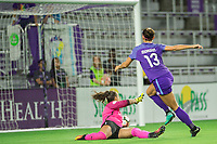 Orlando, FL - Saturday August 12, 2017: Alex Morgan scores a goal during a regular season National Women's Soccer League (NWSL) match between the Orlando Pride and Sky Blue FC at Orlando City Stadium.