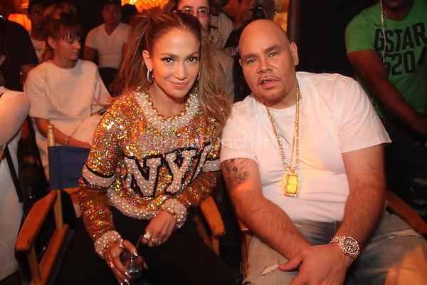 "NEW YORK, NY - SEPTEMBER 8: Jennifer Lopez & Fat Joe on the set of the video shoot for ""Stressin"" September 8, 2014 in New York City. Credit: Walik Goshorn/MediaPunch"