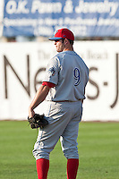 May 6 2010: Jim Murphy (9) of the Clearwater Threshers during a game vs. the Daytona Cubs at Jackie Robinson Ballpark in Daytona Beach, Florida. Clearwater, the Florida State League High-A affiliate of the Philadelphia Phillies, won the game against Daytona, affiliate of the Chicago Cubs, by the score of 4-1.  Photo By Scott Jontes/Four Seam Images
