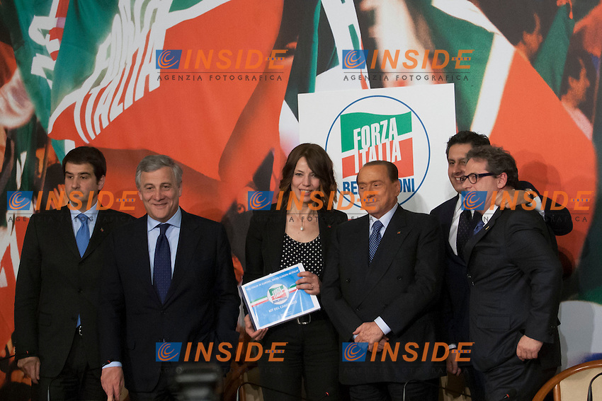 Raffaele Fitto, Antonio Tajani, Elisabetta Gardini, Silvio Berlusconi, Giovanni Toti,  e Gianfranco Micciche'<br /> Roma 17-04-2014 Sede di Forza Italia. Presentazione dei candidati alle prossime elezioni europee.<br /> Presentation of the candidates of Forza Italia for the next european elections<br /> Photo Samantha Zucchi Insidefoto
