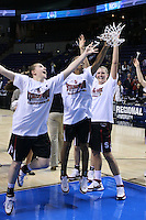 31 March 2008: Jeanette Pohlen, Candice Wiggins and Jayne Appel reach for the net after Stanford's 98-87 win over the University of Maryland in the elite eight game of the NCAA Division 1 Women's Basketball Championship in Spokane, WA.