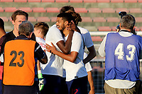 Jake Clarke-Salter and Tammy Abraham of England U21's celebrate winning the Tournament at the final whistle during Mexico Under-21 vs England Under-21, Tournoi Maurice Revello Final Football at Stade Francis Turcan on 9th June 2018