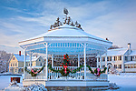 Christmas at the town bandstand in Sullivan, ME, USA