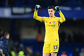 5th November 2017, Stamford Bridge, London, England; EPL Premier League football, Chelsea versus Manchester United; Thibaut Courtois of Chelsea celebrates the 1-0 win