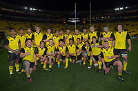 The Hurricanes team poses for a group photo after the rugby match between the Hurricanes under-18s and Crusaders Knights at Westpac Stadium in Wellington, New Zealand on Saturday, 15 July 2017. Photo: Dave Lintott / lintottphoto.co.nz