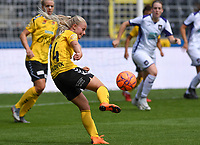 20190810 - ANDERLECHT, BELGIUM : LSK's Emilie Woldvik pictured shooting towards goal during the female soccer game between the Belgian RSCA Ladies – Royal Sporting Club Anderlecht Dames  and the Norwegian LSK Kvinner Fotballklubb ladies , the second game for both teams in the Uefa Womens Champions League Qualifying round in group 8 , saturday 10 th August 2019 at the Lotto Park Stadium in Anderlecht  , Belgium  .  PHOTO SPORTPIX.BE for NTB NO | DAVID CATRY