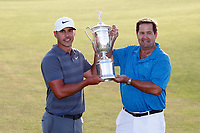 Brooks Koepka (USA) poses for a photo with his father after winning the 118th U.S. Open Championship at Shinnecock Hills Golf Club in Southampton, NY, USA. 17th June 2018.<br /> Picture: Golffile | Brian Spurlock<br /> <br /> <br /> All photo usage must carry mandatory copyright credit (&copy; Golffile | Brian Spurlock)