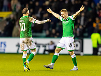 28th February 2020; Easter Road, Edinburgh, Scotland; Scottish Cup Football, Hibernian versus Inverness Caledonian Thistle; Greg Docherty of Hibernian celebrates after scoring hibs third goal with Martin Boyle of Hibernian for 3-0 in the 73rd minute