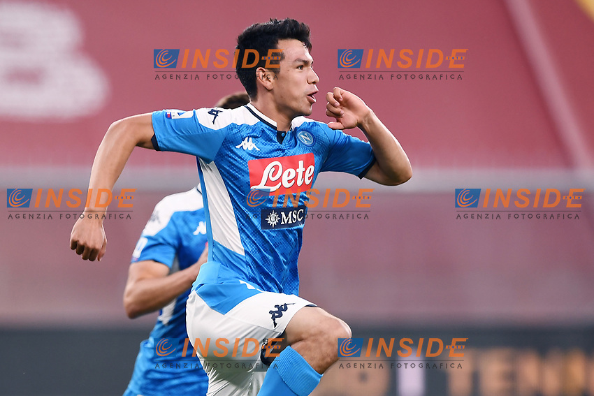 Hirving Lozano of SSC Napoli celebrates after scoring the goal of 1-2 during the Serie A football match between Genoa CFC and SSC Napoli stadio Marassi in Genova ( Italy ), July 08th, 2020. Play resumes behind closed doors following the outbreak of the coronavirus disease. <br /> Photo Matteo Gribaudi / Image / Insidefoto