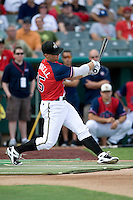 San Antonio Missions third baseman James Darnell #25 participates in the home run derby before the Texas League All Star Game played on June 29, 2011 at Nelson Wolff Stadium in San Antonio, Texas. The South All Star team defeated the North All Star team 3-2 and Darnell was awarded the MVP award. (Andrew Woolley / Four Seam Images)