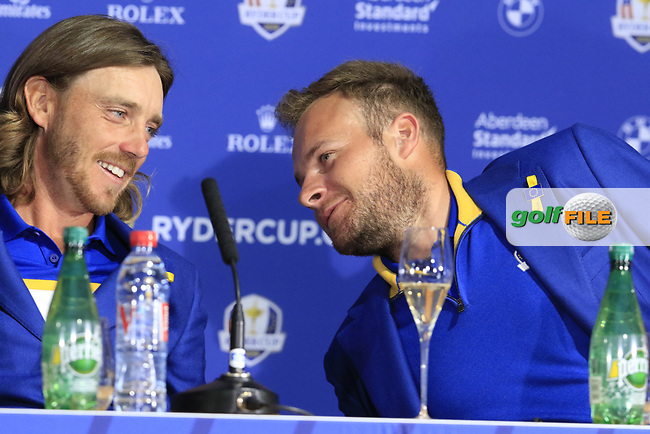 Tommy Fleetwood and Tyrrell Hatton (Team Europe) at the press conference after Europe win the Ryder Cup 17.5 to 10.5 at the end of Sunday's Singles Matches at the 2018 Ryder Cup 2018, Le Golf National, Ile-de-France, France. 30/09/2018.<br /> Picture Eoin Clarke / Golffile.ie<br /> <br /> All photo usage must carry mandatory copyright credit (© Golffile | Eoin Clarke)