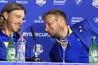 Tommy Fleetwood and Tyrrell Hatton (Team Europe) at the press conference after Europe win the Ryder Cup 17.5 to 10.5 at the end of Sunday's Singles Matches at the 2018 Ryder Cup 2018, Le Golf National, Ile-de-France, France. 30/09/2018.<br /> Picture Eoin Clarke / Golffile.ie<br /> <br /> All photo usage must carry mandatory copyright credit (&copy; Golffile | Eoin Clarke)