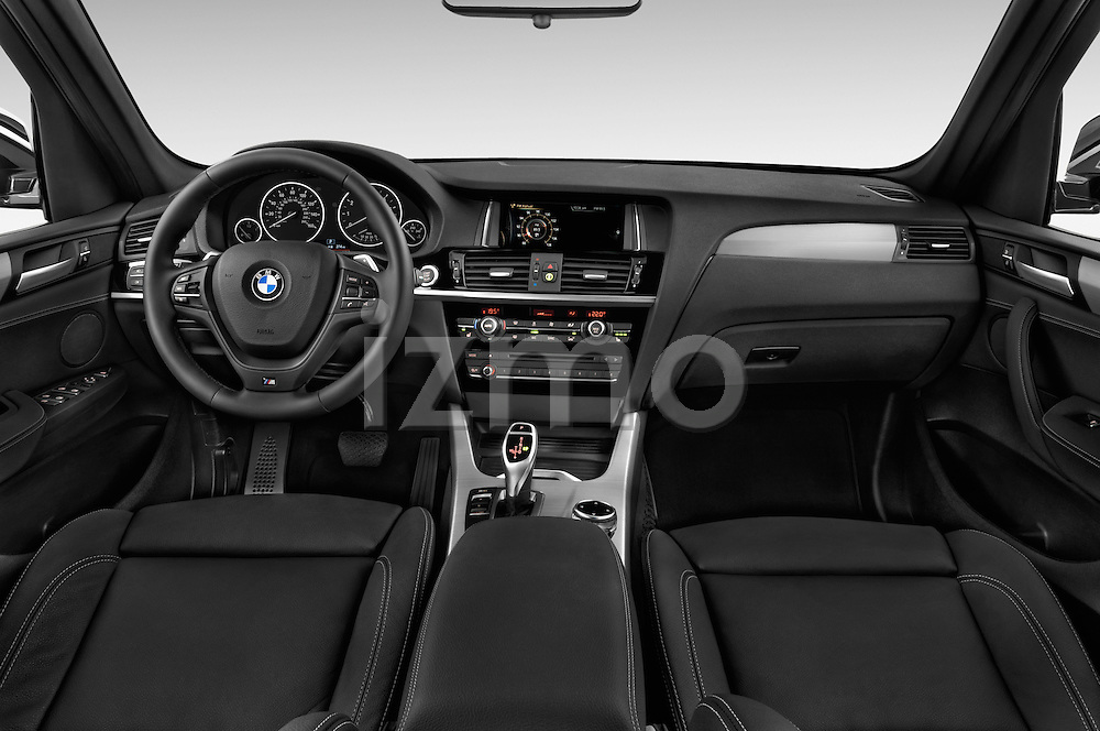 Stock photo of straight dashboard view of 2016 BMW X3 xDrive28d 5 Door SUV Dashboard