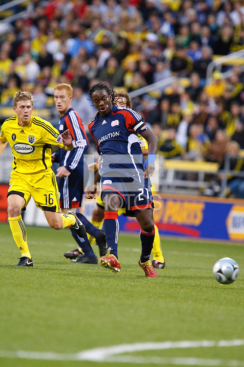 25 OCTOBER 2009:  Brian Carroll of the Columbus Crew (16) and Shalrie Joseph of the New England Revolution (21) during the New England Revolution at Columbus Crew MLS game in Columbus, Ohio on October 25, 2009.