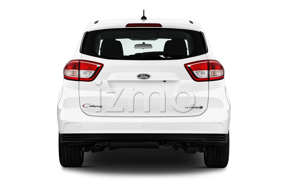 Straight rear view of a 2018 Ford C-Max Hybrid Titanium 5 Door Mini Van stock images