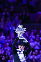OMAHA, NEBRASKA - APR 1: Isabell Werth holds up the trophy during the awards presentation after winning the Longines FEI World Cup Dressage Final at the CenturyLink Center on April 1, 2017 in Omaha, Nebraska. (Photo by Taylor Pence/Eclipse Sportswire/Getty Images)