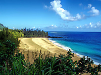 Lumahai Beach seen from the nearby ridge. Kauai, Hawaii