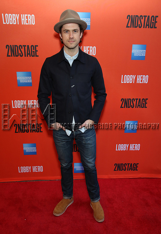 "Aaron Tveit attending the Broadway Opening Night Performance of  ""Lobby Hero"" at The Hayes Theatre on March 26, 2018 in New York City."