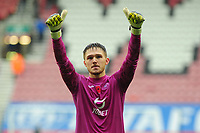 Freddie Woodman of Swansea City applauds the fans at the final whistle during the Sky Bet Championship match between Wigan Athletic and Swansea City at The DW Stadium in Wigan, England, UK. Saturday 2 November 2019