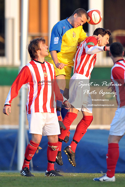 Jack Todd (St Albans) climbs above Mitchell Stuart-Evans (Hornchurch captain). AFC Hornchurch Vs St Albans. Capital League. The Stadium. Essex. 06/05/2010. Credit Sportinpictures/Garry Bowden