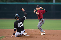 AZL Diamondbacks second baseman Blaze Alexander (3) attempts to turn a double play as Sam Abbott (25) slides into second base during an Arizona League game against the AZL White Sox at Camelback Ranch on July 12, 2018 in Glendale, Arizona. The AZL Diamondbacks defeated the AZL White Sox 5-1. (Zachary Lucy/Four Seam Images)